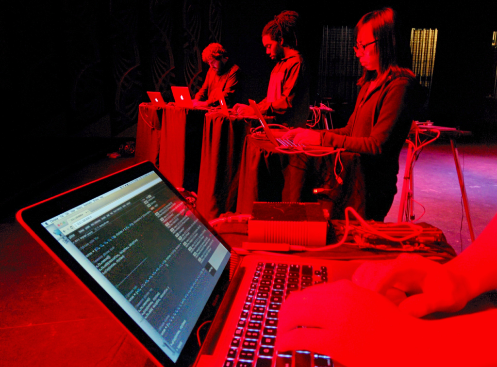 The Laptop Orchestra of Louisiana performing with Gibber.
